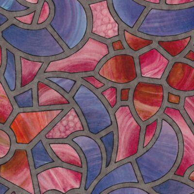 Ólomüveg kék-rózsaszín öntapadós üvegtapéta – 45 cm