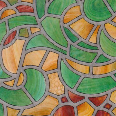 Ólomüveg zöld-sárga öntapadós üvegtapéta – 90 cm