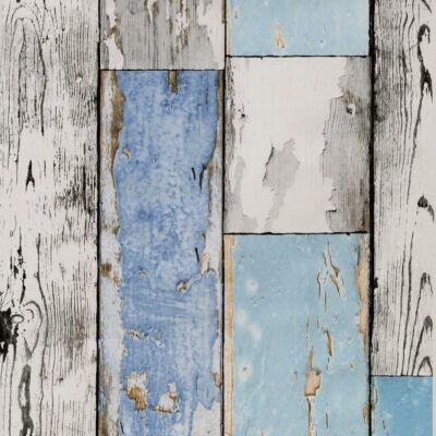 Kék kopott deszkaerezetű öntapadós tapéta