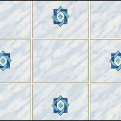 Csempemintás kék betéttel öntapadós tapéta