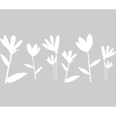Fehér virágok sztatikus üvegfólia