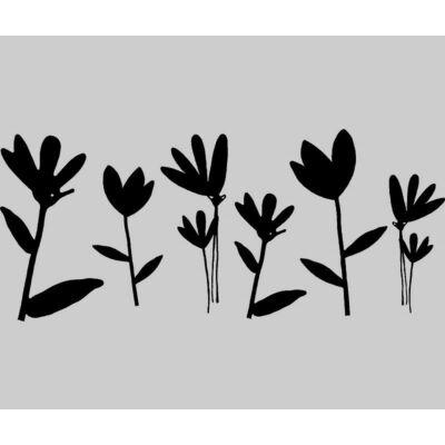 Fekete virágok sztatikus üvegfólia