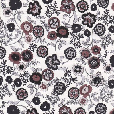 Fekete-fehér virágos öntapadós fólia