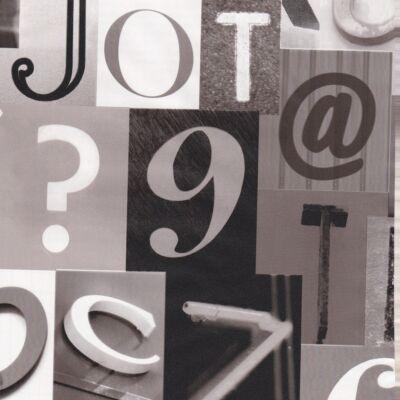 Fekete-szürke betűk öntapadós tapéta