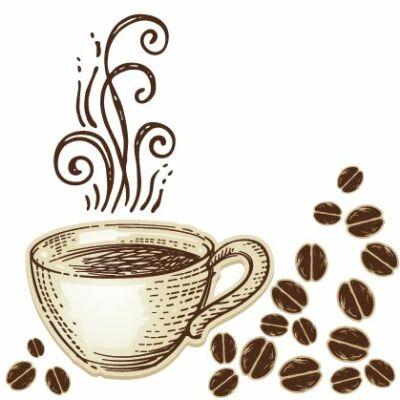 Gőzölgő kávésbögre csempematrica